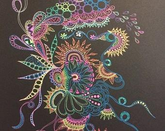 Zentangle abstract,abstract art, black paper art,zentangle art,colored abstract,colored zentangle,gel pen art,wall art,wall decor.