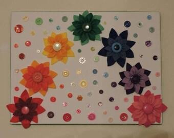 Rainbow felt flower canvas