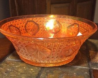 Vintage Carnival Glass Bowl Marigold Imperial Star Medallion. ID 15-56
