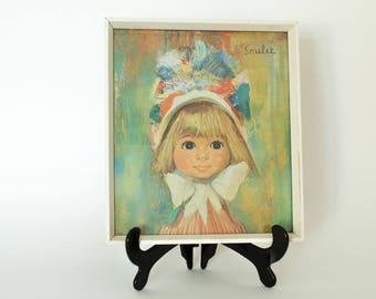 Soulet 1960's framed Print - Small Blonde Girl - Kitsch Retro Vintage