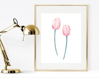 Watercolor tulips printable art print, pink tulips watercolor painting, instant download pink flowers wall art painting, floral home decor