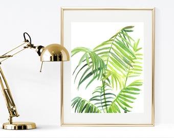 Watercolor print, printable watercolor leaves print, green watercolor leaves, palm watercolor print, botanical, printable green wall art