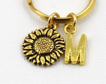 Sunflower Key Ring, Personalized Sunflower Keychain, Sunflower Keyring, Initial Keychain,Sunflower Gift,Friendship Keyring,Best Friends Gift