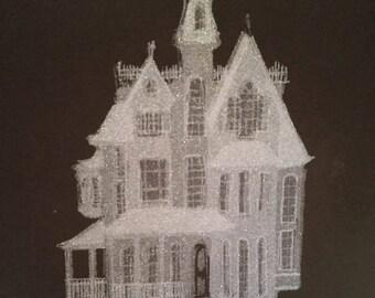 Metallic Victorian Ghost House original screen print