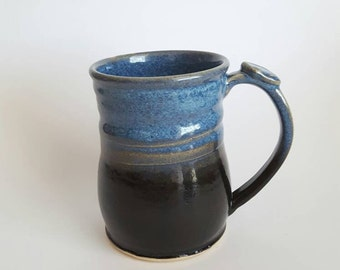 Large Blue and Black Mug, Stoneware, Ceramic Mug, Tableware, Houseware, Coffee Mug