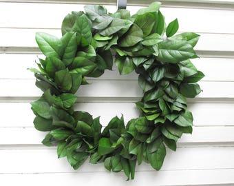"Preserved Salal (Lemon Leaf) 20"" Wreath Spring Green Handcrafted for Home Decor, Weddings, Crafts, DIY, Woodland Floral, Rustic Farmhouse"