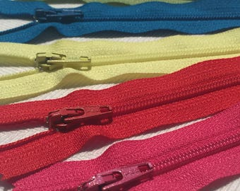 YKK Nylon Zippers 22 Inches Coil #3 Closed Bottom Assorted Colors