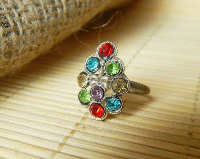 Metal toe ring, vintage jewelry, multicolor ethnic ring, adjustable ring, indian ring, gypsy vintage toe ring, boho toe ring, bohemian ring