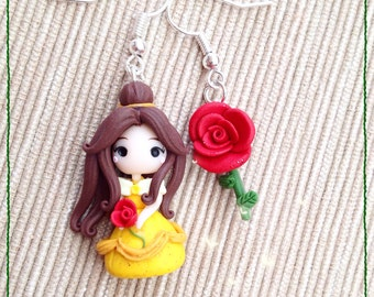 Fimo Polymer Clay Earrings earrings Kawaii Cute Chibi Belle Disney Princess Pink Rose Beautiful Handmade tiny Princess Gift Beast Beauty