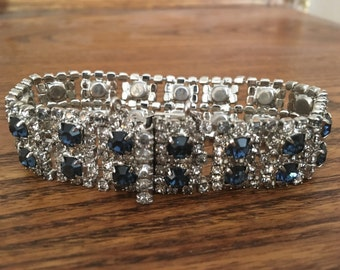 Vintage Clear and Sapphire Rhinestone Princess Bracelet 0927