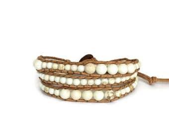 Beaded Bracelet, Triple Wrap Bracelet, Leather Wrap Bracelet, BOHO Bracelet, Beaded Wrap Bracelet
