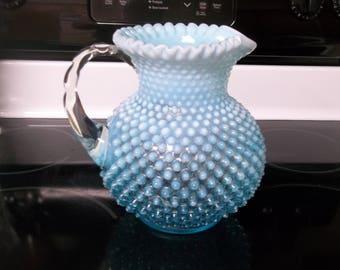 "Fenton Handmade Blue Opalescent Hobnail 9"" Pitcher ""STUNNING"""