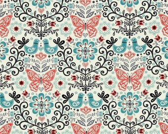 Papillon Allover Birds Butterfly Floral Leaf Mandala Cotton Fabric from the Papillon collection by Makower