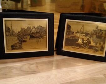 "Gold Foil ""San Pedro"" & ""Purdy's Basin"" by Lionel Barrymore - Vintage - Framed"