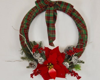 Red and Green Plaid Wreath