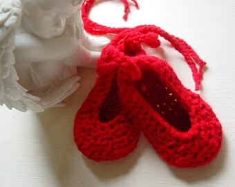 Valentines, Ruby Slippers, Baby girl, crochet, ballet shoes, 0-3months, Red shoes