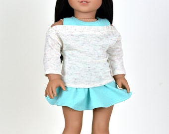"""Sweater """"Relaxed"""" Coral/Mint/Ivory 18 inch doll clothes"""