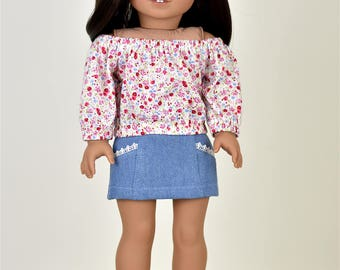 Taylor Country Top Off The Shoulder Top 18 inch doll clothes