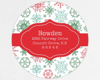 24 HOUR DIGTIAL FILE, Holiday Return Address Label, Christmas Return Address Label, Holiday Address Sticker, Snowflake Gift Tag