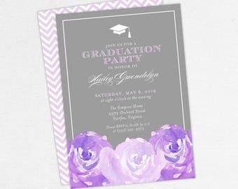 Graduation Invitation, Graduation Announcement, Printable Invitation, Invitation PDF, DIY, Printed, Watercolor Flowers, Gray, Purple, Hailey