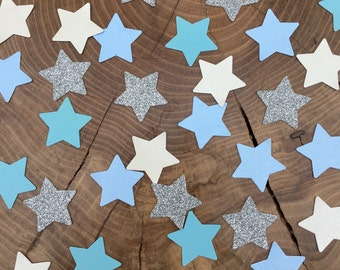 150 twinkle Star Confetti pieces. Silver glitter, blue stars, ivory stars, Table decoration