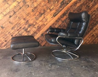 Vintage Ekornes Leather Chair with Ottoman