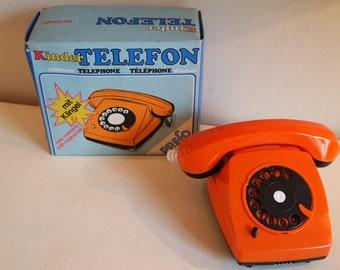 Vintage 60s Prefo GDR toy rotary telephone