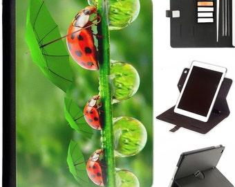 Funny ladybird leaf umbrella Luxury Apple ipad 360 swivel i pad leather case cover with card slots