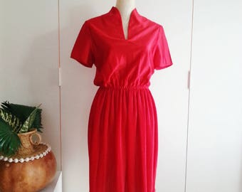 Small Vintage 70s Red Disco Dress