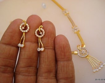 Traditional design 22kt gold necklace earrings set gold choker gold earrings