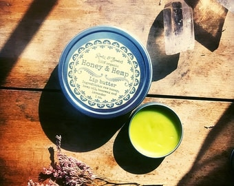Honey & Hemp lip butter- one ounce tin- honey lip balm, organic lip balm, hemp lip balm, hemp, chapstick