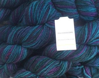 New Stock! Filatura Lanarota KALEIDOSCOPE Wool Yarn Hand Spun - Color 8 Blues - Hand Spun Extra Fine Merino Wool Yarn. Knit or Felt!