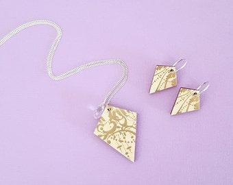 Wood jewellery set, sterling silver jewellery set, decoupage necklace, dangle earrings, wooden earrings, decoupage wood necklace