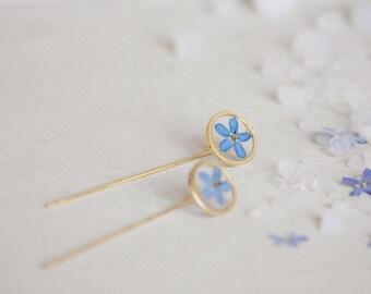 Myosotis earrings Real Forget me not Geometrical earrings Resin earrings Pressed blue flower Forget me not earrings Minimalist earrings Blue