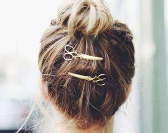 2 pretty barrettes scissors for original hairstyles