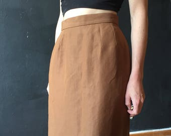 Vintage 90s Light Brown Linen Blend Midi Skirt • Neutral Fitted Mid Length Skirt • Size 0 Extra Small