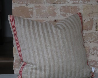 pillow from antique linen: redstripes 45*45cm