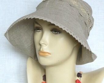 Linen hat, summer hat, women's hat, Oeko Tex,beige