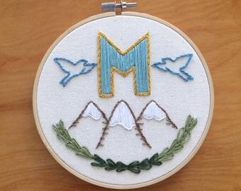 Custom Initial Embroidery Hoop