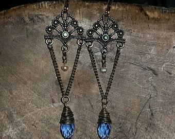 Victorian Brass Wire Wrapped Chandelier Earrings Featuring A Tiny Freshwater Pearl