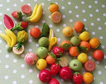Miniature fruit, fairy garden fruit, mixed fruit miniatures, Barbie fruit, Blythe fruit, fairy fruit, miniature Fruit Stand, dollhouse fruit