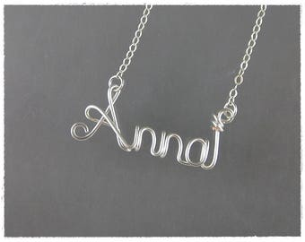 Anna Wire Word Name Pendant Necklace