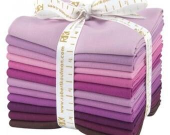 """Kona Cotton Fat Quarter Bundle """"Fancy Florals"""" by Robert Kaufman -12 different fat quarters shades of purple."""