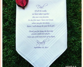 Father of the Bride Gift-Father of the Bride Wedding Handkerchief-PRINTED-CUSTOMIZED-Wedding Favors-Father of the Bride Wedding Gift for dad