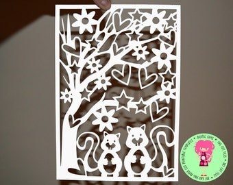 Squirrel paper cut svg / dxf / eps files and pdf / png printable templates for hand cutting. Digital download. Small commercial use ok.