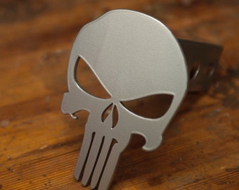 Punisher Trailer Hitch Cover - Silver