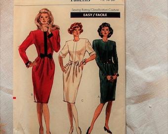 Vintage Vogue dress pattern, Vogue 7556, uncut, sizes 12 14 16.  1989