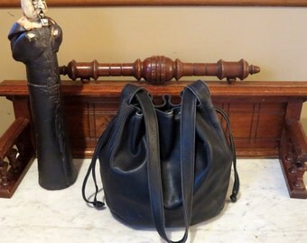 Spring Sale Coach Lexington Drawstring Bag In Black Leather Style No. 4180 -Made In Italy- VGC