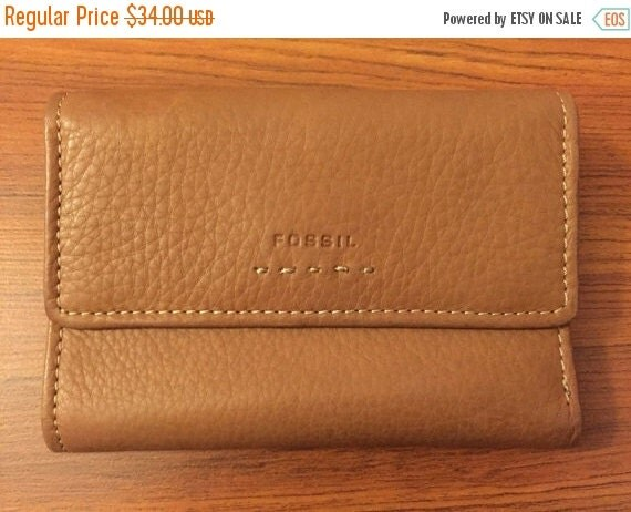 Football Days Sale Fossil Light Brown  Leather Trifold Wallet- Lightly Used