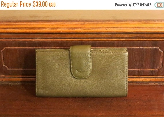 Football Days Sale Rolfe Green Leather Combination Wallet Checkbook and Kisslock Coin Purse- EUC